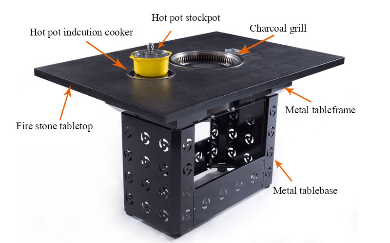 CENHOT Korean Style Restaurant BBQ Grill Hotpot Table structure