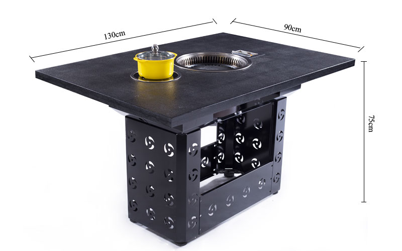 The Korean Style Restaurant BBQ Grill Hotpot Table's size-CENHOT