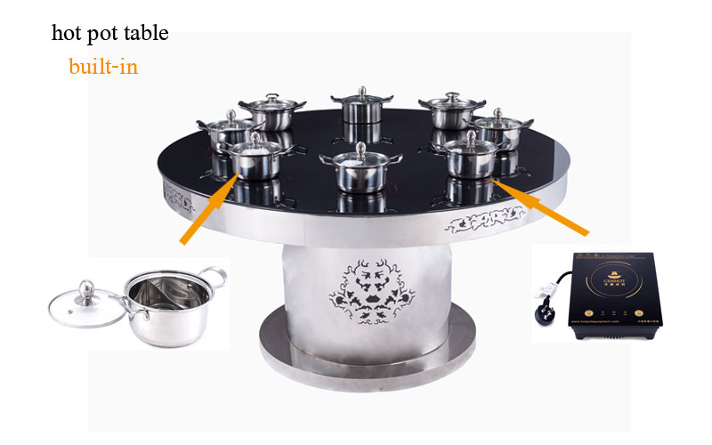 Hiding Magnetic Glass Hot Pot Table with the induction cooker - CENHOT