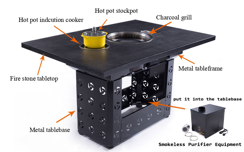 Korean-Charcoal-BBQ-WITH-PURIFIER-EQUIPMENT-SYSTEM-ON-THE-TABLE---CENHOT