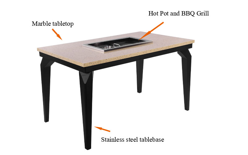 The Korean BBQ And Hot Pot Table's structure - CENHOT