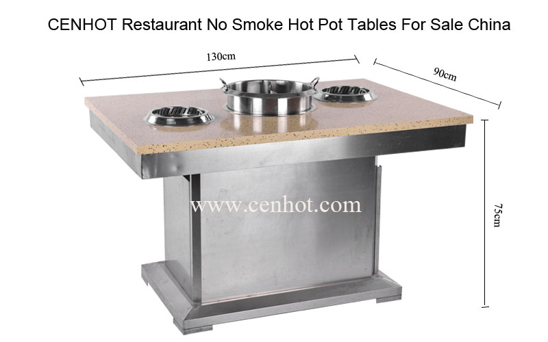CENHOT Restaurant No Smoke Hot Pot Table size - CH-T25