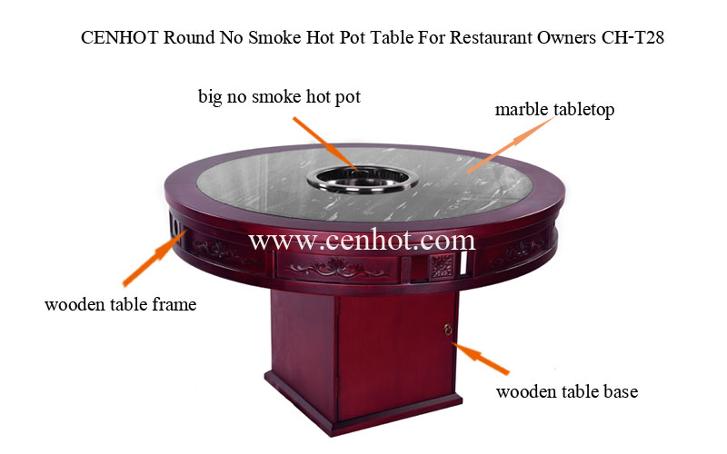 The structure of CENHOT Wooden No Smoke Hot Pot Table For Restaurant Owners