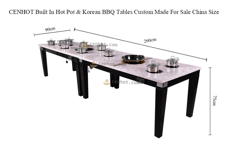 CENHOT Built In Hot Pot & Korean BBQ Tables Custom Made For Sale China size - CH-T29