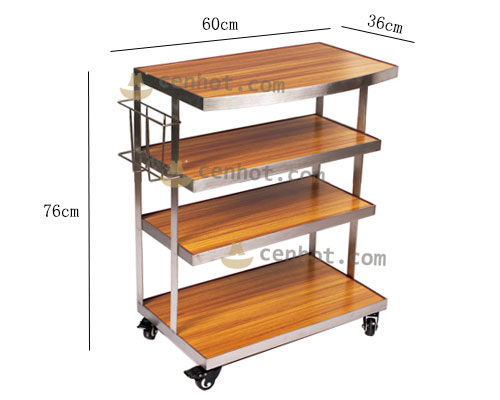 CENHOT Wooden 4 Shelf Hot Pot Restaurant Utility Carts Supply size