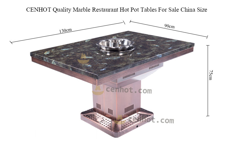 CENHOT Quality Marble Restaurant Hot Pot Tables For Sale China size
