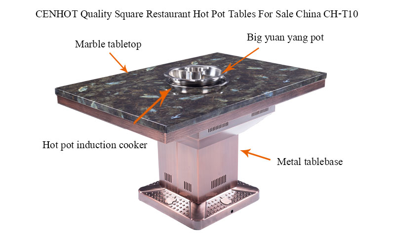 CENHOT Quality Square Restaurant Hot Pot Tables For Sale China structure