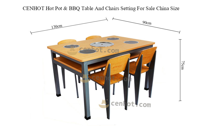 CENHOT Hot Pot & BBQ Table And Chairs Setting size