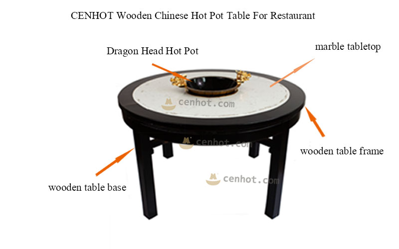 CENHOT Wooden Chinese Hot Pot Table For Restaurant